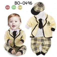 BO0496 ชุดสูทเด็ก เท่ห์ครบเซ็ต เสื้อสูทสีเหลืองขอบดำ พร้อมหมวก เนคไท กางเกงลายสก๊อต  (5 ชิ้น)