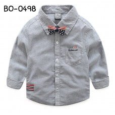 BO0498 เสื้อเชิ๊ตเด็กผู้ชายออกงาน คอปกแขนยาว สีเทา + หูกระต่ายลายธงชาติอเมริกา (2ชิ้น)