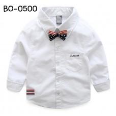 BO0500 เสื้อเชิ๊ตเด็กผู้ชายออกงาน คอปกแขนยาว สีขาว + หูกระต่ายลายธงชาติอเมริกา (2ชิ้น) S.150
