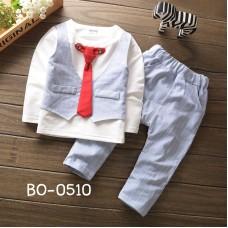 BO0510 ชุดเด็กผู้ชายออกงาน ติดเนคไทสีแดง กางเกงขายาวลายทางสีฟ้า (2ชิ้น) S.80