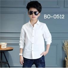 BO0512 เสื้อเชิ๊ตเด็กผู้ชายออกงาน เด็กโต คอปกแขนยาว สีขาวออฟไวท์ (Off-white)