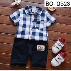 BO0523 ชุดเด็กผู้ชาย เสื้อเชิ๊ตแขนสั้นลายสก๊อตโทนสีกรมท่า และกางเกงสีดำ (2ชิ้น)