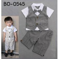 BO0545 ชุดเด็กผู้ชายออกงาน กั๊กเย็บติด แขนสั้น ติดหูกระต่าย และกางเกง ลายทางสีเทา (2ชิ้น)