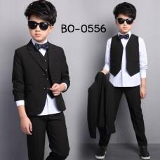 BO0556 ชุดสูทเด็กผู้ชาย เด็กโต สุดคุ้ม เสื้อสูท + เสื้อกั๊ก + กางเกงขายาวสีดำ (3ชิ้น)