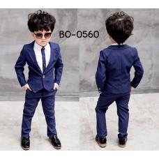 BO0560 ชุดสูทเด็กผู้ชายเด็กโต เสื้อสูทแขนยาว และกางเกงขายาว สีกรมท่า (2ชิ้น)