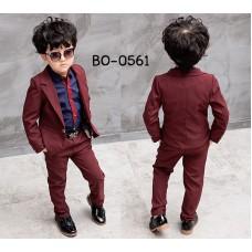BO0561 ชุดสูทเด็กผู้ชายเด็กโต เสื้อสูทแขนยาว และกางเกงขายาว สีน้ำตาลแดง (2ชิ้น)