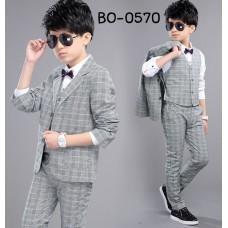 BO0570 ชุดสูทเด็กผู้ชายออกงาน เด็กโต สุดคุ้ม เสื้อสูท + เสื้อกั๊ก + กางเกงขายาวลายสก๊อตสีเทาฟ้า (3ชิ้น)