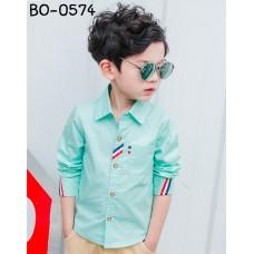 BO0574X << สินค้ามีตำหนิ >> เสื้อเชิ๊ตเด็กผู้ชาย เด็กโต แต่งแถบสีที่เสื้อ คอปกแขนยาว สีเขียวมิ้นท์ S.120