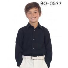 BO0577 เสื้อเชิ๊ตเด็กผู้ชาย คอปกแขนยาวแต่งกระเป๋าที่อกซ้าย สีดำ