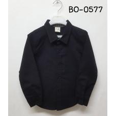 BO0577E เสื้อเชิ๊ตเด็กผู้ชาย แต่งลายจุดสีขาวรอบปกคอด้านใน คอปกแขนยาวสีดำ S.100