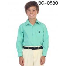 BO0580 เสื้อเชิ๊ตเด็กผู้ชาย คอปกแขนยาว ปักลายสมอเรือที่อกซ้าย สีเขียวมิ้นท์ S.100