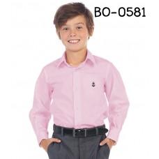 BO0581 เสื้อเชิ๊ตเด็กผู้ชาย คอปกแขนยาว ปักลายสมอเรือที่อกซ้าย สีชมพูอ่อน