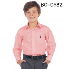 BO0582 เสื้อเชิ๊ตเด็กผู้ชาย คอปกแขนยาว ปักลายสมอเรือที่อกซ้าย สีโอรส