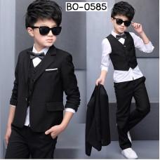 BO0585 ชุดสูทเด็กผู้ชาย เด็กโต ครบเซ็ท เสื้อเชิ๊ต + หูกระต่าย + เสื้อสูท + เสื้อกั๊ก + กางเกงขายาวสีดำ (5ชิ้น)