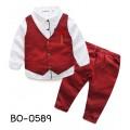 BO0589 ชุดเด็กผู้ชายออกงาน เสื้อเชิ๊ต + เสื้อกั๊ก + กางเกงขายาว ลายจุดสีแดงเลือดหมู พร้อมเข็มกลัด (4ชิ้น)