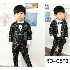 BO0593 ชุดสูทเด็กผู้ชายออกงาน เสื้อสูทแขนยาว + กางเกงขายาวลายตาราง สีดำ (2ชิ้น) S.100