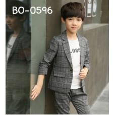 BO0596 ชุดสูทเด็กผู้ชายออกงาน เสื้อสูทแขนยาว + กางเกงขายาวลายสก๊อต สีเทาเข้ม (2ชิ้น)