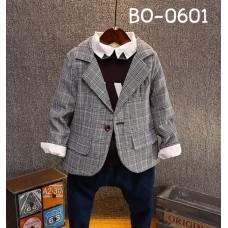 BO0601 เสื้อสูทเด็กผู้ชาย แขนยาว ใส่ออกงาน ลายเส้นหลากสีโทนสีเทา