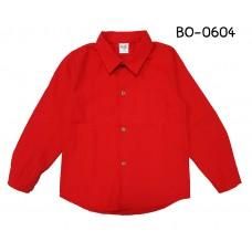 BO0604 เสื้อเชิ๊ตเด็กผู้ชาย คอปกแขนยาวแต่งกระเป๋าที่อกซ้าย สีแดงสด