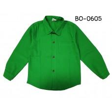 BO0605 เสื้อเชิ๊ตเด็กผู้ชาย คอปกแขนยาวแต่งกระเป๋าที่อกซ้าย สีเขียวใบไม้
