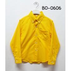 BO0606 เสื้อเชิ๊ตเด็กผู้ชาย แขนยาวคอปกติดกระดุม แต่งกระเป๋า สีเหลือง