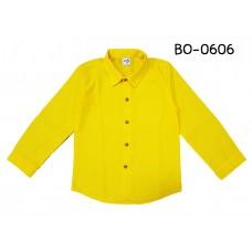 BO0606 เสื้อเชิ๊ตเด็กผู้ชาย คอปกแขนยาวแต่งกระเป๋าที่อกซ้าย สีเหลือง