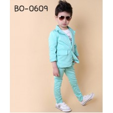 BO0609 ชุดสูทเด็กผู้ชายออกงาน เสื้อคลุมสูทแขนยาว และกางเกงขายาว สีเขียวมิ้นท์ (2ชิ้น)