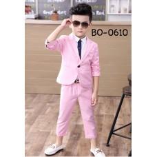 BO0610 ชุดสูทเด็กผู้ชายออกงาน เสื้อคลุมสูทแขนยาว และกางเกงขายาว สีชมพู (2ชิ้น) S.130