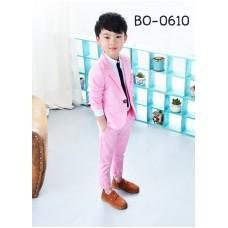 BO0610 ชุดสูทเด็กผู้ชายออกงาน เสื้อคลุมสูทแขนยาว และกางเกงขายาว สีชมพู (2ชิ้น)
