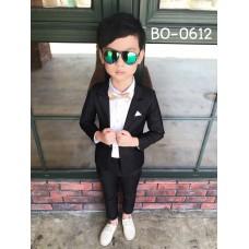 BO0612 ชุดสูทเด็กผู้ชายออกงาน เสื้อคลุมสูทแขนยาว และกางเกงขายาว สีดำ (2ชิ้น)