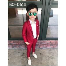 BO0613 ชุดสูทเด็กผู้ชายออกงาน เสื้อคลุมสูทแขนยาว และกางเกงขายาว สีไวน์แดง (2ชิ้น)
