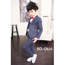 BO0614 ชุดสูทเด็กผู้ชายออกงาน เสื้อสูทแขนยาว + เสื้อกั๊ก + กางเกงขายาวลายตาราง สีกรมท่า (3ชิ้น) S.150