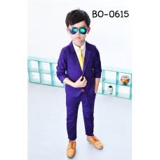 BO0615 ชุดสูทเด็กผู้ชายออกงาน เสื้อคลุมสูทแขนยาว และกางเกงขายาว สีม่วงเปลือกมังคุด (2ชิ้น)