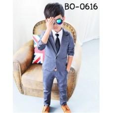 BO0616 ชุดสูทเด็กผู้ชายออกงาน เสื้อคลุมสูทแขนยาว และกางเกงขายาว สีเทาควันบุหรี่ (2ชิ้น)