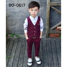 BO0617 ชุดกั๊กเด็กผู้ชายออกงาน เสื้อกั๊ก + กางเกงลายจุดสีแดง (2ชิ้น)