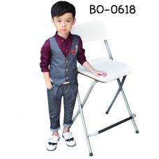 BO0618A เสื้อกั๊กเด็กผู้ชายออกงาน ลายจุดสีเทาควันบุหรี่ S.110