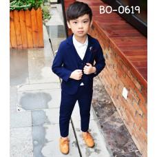 BO0619 ชุดสูทเด็กผู้ชายออกงาน เด็กโต สุดคุ้ม เสื้อสูท + เสื้อกั๊ก + กางเกงขายาวสีกรมท่า (3ชิ้น)
