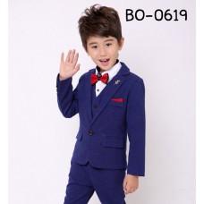 BO0619A ชุดสูทเด็กผู้ชายออกงาน เด็กโต สุดคุ้ม เสื้อสูท + เสื้อกั๊ก + กางเกงขายาวสีน้ำเงิน (3ชิ้น)