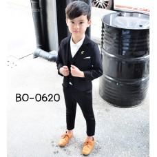 BO0620 ชุดสูทเด็กผู้ชายออกงาน เด็กโต สุดคุ้ม เสื้อสูท + เสื้อกั๊ก + กางเกงขายาวสีดำ (3ชิ้น)