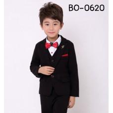 BO0620A ชุดสูทเด็กผู้ชายออกงาน เด็กโต สุดคุ้ม เสื้อสูท + เสื้อกั๊ก + กางเกงขายาวสีดำ (3ชิ้น)