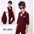 BO0621A ชุดสูทเด็กผู้ชายออกงาน เด็กโต สุดคุ้ม เสื้อสูท + เสื้อกั๊ก + กางเกงขายาวสีน้ำตาลแดง (3ชิ้น)