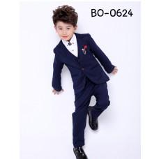 BO0624 ชุดสูทเด็กผู้ชายออกงาน เด็กโต สุดคุ้ม เสื้อสูท + เสื้อกั๊ก + กางเกงขายาวสีกรมท่า (3ชิ้น) S.140