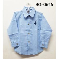 BO0626 เสื้อเชิ๊ตเด็กผู้ชาย คอปกแขนยาว ปักลายสมอเรือที่อกซ้าย สีฟ้า