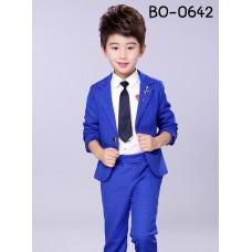 BO0642 ชุดสูทเด็กผู้ชายออกงาน เสื้อคลุมสูทแขนยาว และกางเกงขายาว ลายตารางสีน้ำเงิน (2ชิ้น)