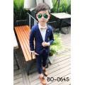 BO0645 ชุดสูทเด็กผู้ชายออกงาน เสื้อคลุมสูทแขนยาว และกางเกงขายาว ลายทางสีน้ำเงิน (2ชิ้น)