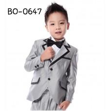 BO0647 ชุดสูทออกงานครบเซ็ท สีเงินแต่งขอบดำ (3ชิ้น) แถมฟรี! หูกระต่าย S.140/150
