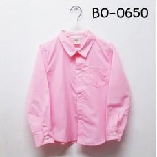 BO0650 เสื้อเชิ๊ตเด็กผู้ชาย คอปกแขนยาวแต่งกระเป๋าที่อกซ้าย สีชมพูนม
