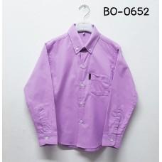 BO0652 เสื้อเชิ๊ตเด็กผู้ชาย แขนยาวคอปกติดกระดุม แต่งกระเป๋า สีม่วง S.140