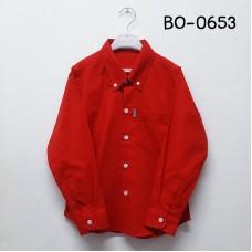 BO0653 เสื้อเชิ๊ตเด็กผู้ชาย แขนยาวคอปกติดกระดุม แต่งกระเป๋า สีแดง
