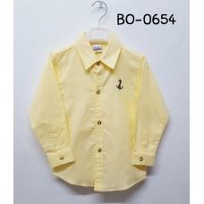 BO0654 เสื้อเชิ๊ตเด็กผู้ชาย คอปกแขนยาว ปักลายสมอเรือที่อกซ้าย สีเหลืองอ่อน S.100